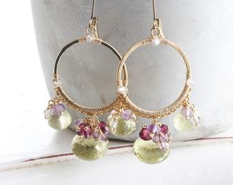 Chandelier earrings, Wire wrapped hoop earrings with lemon quartz, rhodolite garnet, white topaz & amethyst, Large gold leverback earrings
