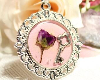 Real Flower Necklace, Vintage Inspired Necklace, Pastel Pink Necklace, Rose Necklace, Real Rose Necklace, Pink Flower Necklace
