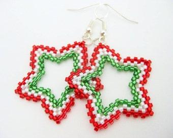 Christmas Star Earrings / Peyote Earrings / Holiday Earrings /  Beaded Star Earrings / Sterling Silver Earrings / Seed Bead Earrings /