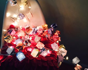 """Origami Box Lanterns in """"Modern Art"""" Theme with Lights"""