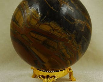 Tiger Eye Stone Sphere Mini Ball, Balancing Reiki Healing Stone, Table Decor Natural gemstone, With Gift Pouch HCDR964