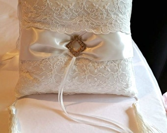 White Ring Bearer Pillow, Lace Ring Pillow, Rhinestone Accent, Tassel Accent