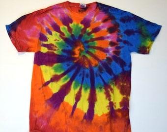 Super Rainbow ~ Spiral Tie Dye T-Shirt (Gildan Ultra Cotton Size M) (One of a Kind)