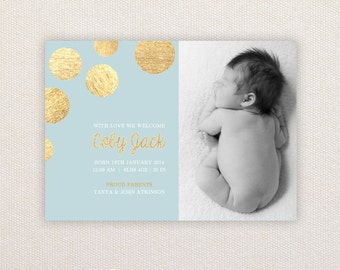 Boys Photo Birth Announcement. Metallic gold spots. I Customize, You Print.