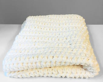 White Baby Blanket, Crochet Baby Blanket, Car Seat Blanket, Stroller Blanket, Newborn Gift for girl or boy