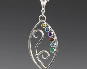 Mother's / Grandmother's Necklace. 6 Birthstones. Filigree Pendant. Sterling Silver. Lab-Created Gemstones.