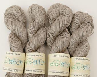 Natural linen sport weight yarn, undyed, knitting crochet yarn.