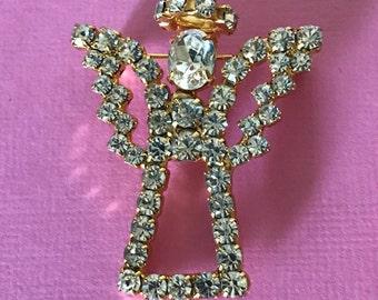 Vintage rhinestone angel pin, rhinestone angel brooch, Christmas angel, angel with halo, angel jewelry, Christian jewelry, guardian angel