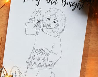 Merry and Bright - Colouring Card