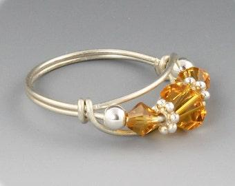 November Topaz Birthstone Ring Handmade Sterling Silver Ring made with Topaz Swarovski Crystals
