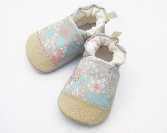 Eco-Canvas Vegan Geometric with Pink and Tan / non-slip soft sole shoes / made to order / Babies Toddler Preschool