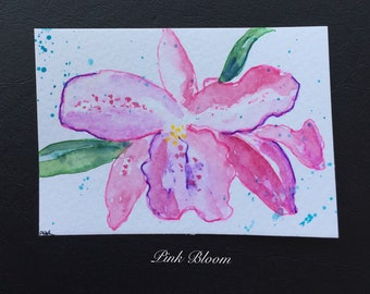 Floral ORIGINAL Miniature Watercolour Pink Bloom ACEO Flower Garden Watercolor For him For her Gardener Home decor Wall art Gift Idea