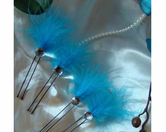 rhinestones and turquoise feather hair pins