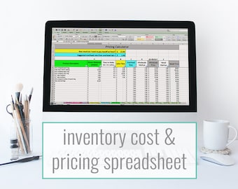 Inventory Cost & Pricing Spreadsheet - pricing template, inventory tracking, and cost of goods calculator for makers