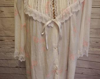 vintage lace robe - vintage robe - vintage robe women - robe women - robe vintage - lace robe - rose robe - vintage house dress