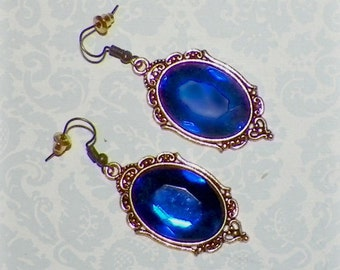 Victorian Gold Earrings Blue Sapphire Gothic Vintage Style Steampunk Dangle Antique