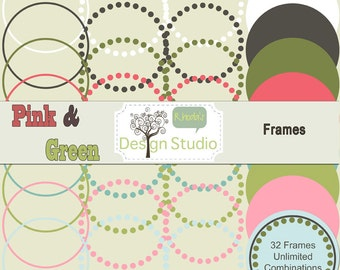 Nested Digital Labels (Pink & Green) Vintage Clip Art Cards, Tags, Customizable, Printable