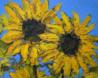 Sunflowers, Acrylic on Art Board, Original & Giclée Prints