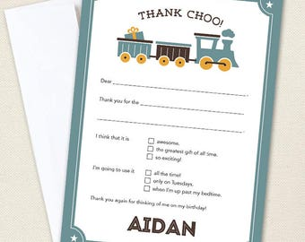 Vintage Train Thank You Cards - Professionally printed *or* DIY printable