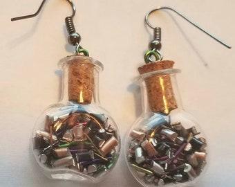 Bottle earrings - wire filling