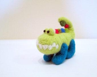 Felted Crocodile - Needle Felted Animal - Miniature Crocodile