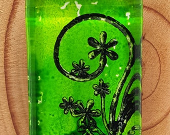 Abstract Shades of Green Black Daisies Flowers / Alcohol Ink / Glass Domino / Rectangle Pendant / Necklace / Key Chain
