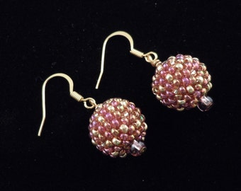 Beaded Earrings, Seed Bead Earrings, Berry Red, Berries, Dangle Earrings