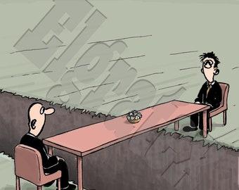 "Color Hand-Drawn Downloadable Cartoon, Funny Digital Comic, Cartoons, Humor Art, funny art gift - ""Negotiating over a gulf"""