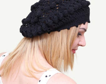 Lace beret, Lace Spring beret, Lace autumn fall hat, Knitted lace black beret, Women's lace beret, Womens spring hat, Ladies Boho knit hat