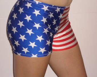 Spandex shorts in red white and blue stars and stripes