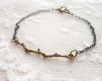 Branch / twig bracelet, delicate and whimsical, antiqued bronze tone, Woodland Magic
