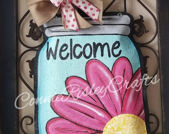 Pink Daisy Mason Jar Burlap Door Hanger
