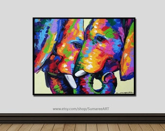 60 x 76 cm, Elephant Painting wall decor on canvas