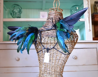 Feather Wings Black, Turquoise, and Green Made to Order