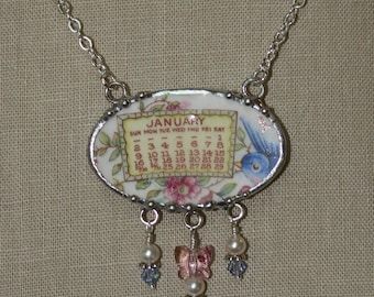 January 1921 Bluebird Calendar Plate Broken China Jewelry Necklace with Month, Bird and Roses