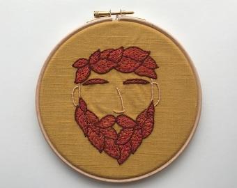 Bearded Man Embroidery Hoop