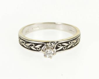 14k Diamond Leaf Embossed Peghead Engagement Ring Gold