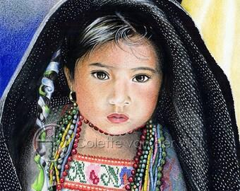 SHELTER (Schuilplaats) - Mexicaans meisje schuilt onder een deken - Art Print van mijn Originele Illustratie - Formaat A3