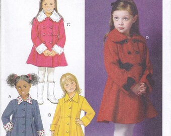 Free Us Ship Sewing Pattern Butterick 5946 High Waist Winter Coat Double Breasted 150th Anniversay Uncut Size Girls 2 3 4 5 6 7 8  new