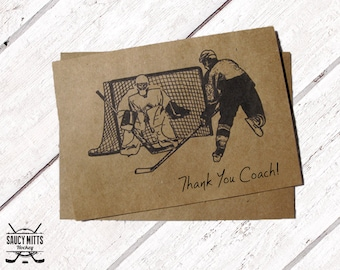 Thank You Hockey Coach Card - Ink Sketch