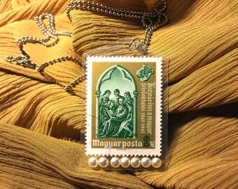 Handmade vintage stamp pendant necklace