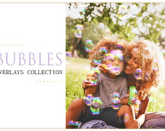 65 Bubbles Photoshop Overlays: Realistic Soap air bubble Photo effect layer, Outdoor mini Sessions with kids, Professional Retouching