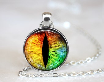 Rainbow Dragon's eyes Photo Glass Pendant/Necklace/Keychain