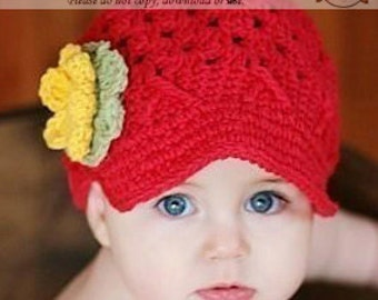 Red Newsboy Hat for Baby Girls, Crochet Girl Newsboy, Girl Newsboy with Flowers, Baby Girl Newsboy Hat, 3-6 Months Girl Newsboy Hat,