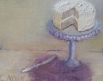 "30 Day Paint Challenge Cake on Stand 4""x5"" Gessoed Hardbord Panel Original Oil Painting Small Painting"
