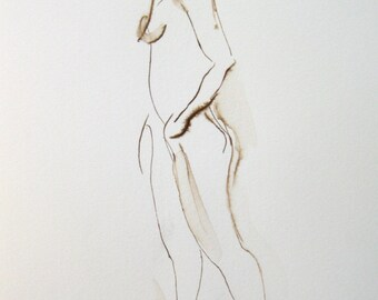 Original Figure Drawing Block, Thea Turning, Ink on Paper Mounted on Wood, Original Art Shelf Decor, Dance Art, Original Under 100, 5x7