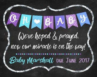 Oh Baby Pregnancy Announcement DIGITAL FILE Miracle, hoped and prayed, religious pregnancy announcement