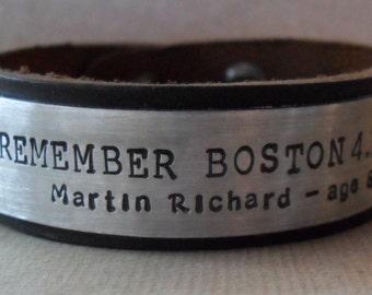 Memorial Bracelet In Memory Personalized Tribute Leather Bracelet Custom Remembrance Boston Tribute Gift
