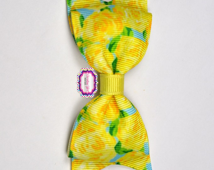 "Yellow First Impression Bow  ~ 3.5"" Hairbow ~ Lilly Inspired ~ Small Hair Bow ~ Girls Barrette ~ Toddler Bow ~ Hair Clip ~ Girls Hair Bow"