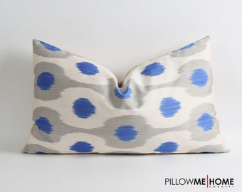 Blue gray white ikat pillow cover, pillow cover, 16x26 ikat pillow cover, accent pillow, decorative throw pillow